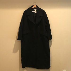 H&M Navy Blue Wool Blend Long Coat